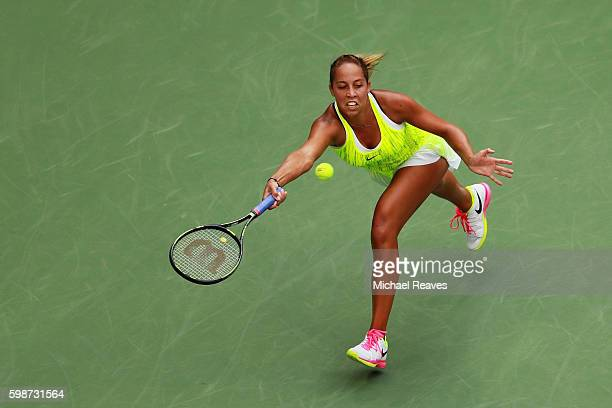 Madison Keys of the United States returns a shot to Naomi Osaka of Japan during her third round Women's Singles match on Day Five of the 2016 US Open...
