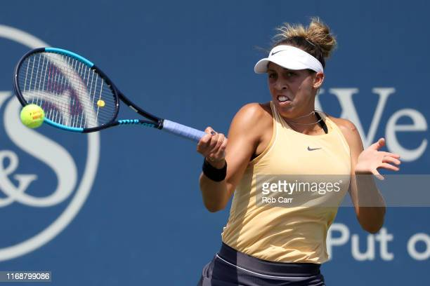 Madison Keys of the United States returns a shot to Svetlana Kuznetsova of Russia during the Women's Final of the Western and Southern Open at...