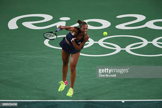 Madison Keys of the United States serves against Angelique Kerber of Germany in the Women's Singles Semifinal on Day 7 of the Rio 2016 Olympic Games...