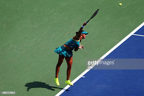 Madison Keys of the United States serves against Tereza Smitkova of Czech Republic during their Women's Singles Second Round match on Day Three of...