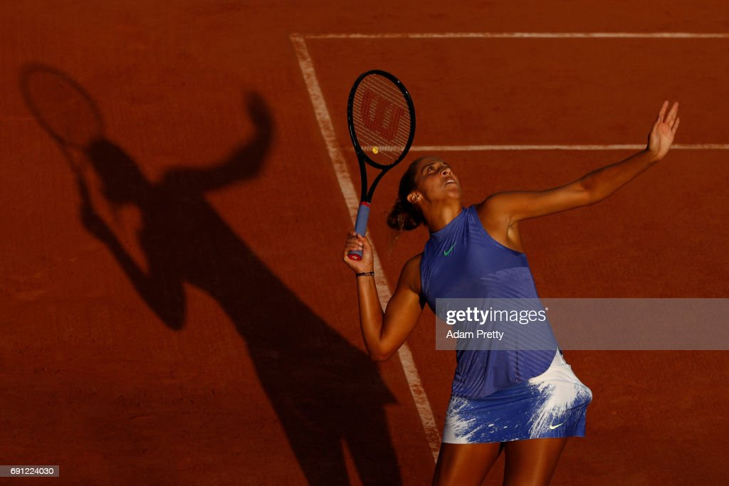 Madison Keys of the United States serves during the ladies singles second round match against Petra Martic of Croatia on day five of the 2017 French Open at Roland Garros on June 1, 2017 in Paris, France.