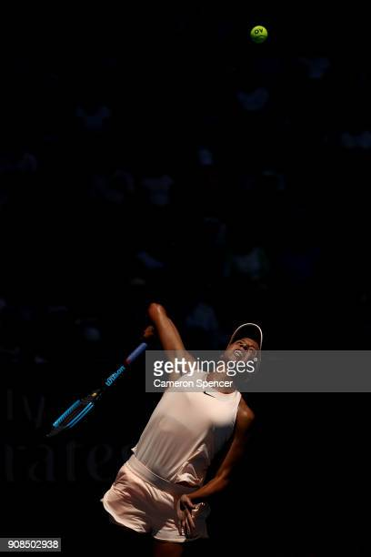 Madison Keys of the United States serves in her fourth round match against Caroline Garcia of France on day eight of the 2018 Australian Open at...