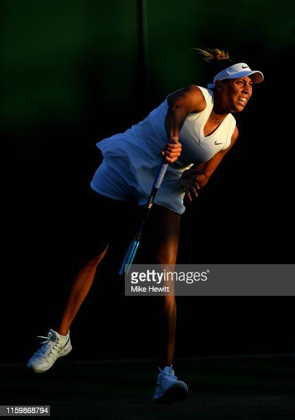 Madison Keys of The United States serves in her Ladies' Singles second round match against Polona Hercog of Slovenia during Day three of The...