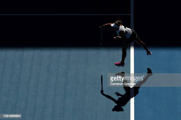 Madison Keys of the United States serves in her third round match against Elise Mertens of Belgium during day six of the 2019 Australian Open at...