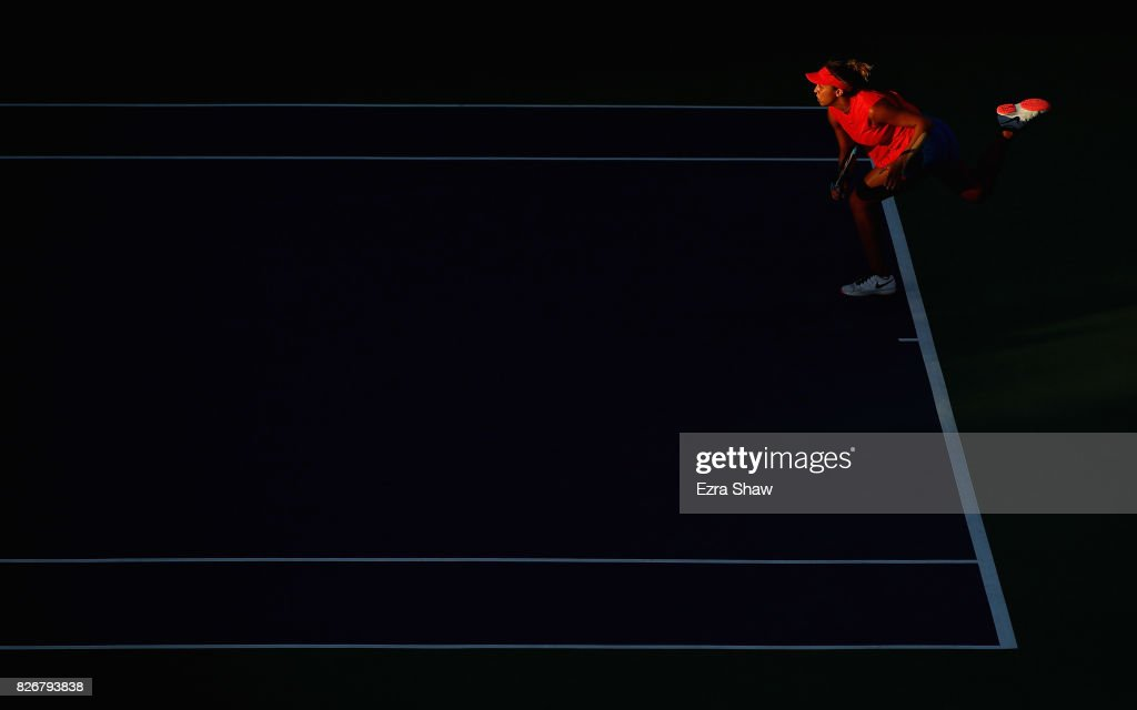 Madison Keys of the United States serves to Garbine Muguruza of Spain during their semifinal match on Day 6 of the Bank of the West Classic at Stanford University Taube Family Tennis Stadium on August 5, 2017 in Stanford, California.