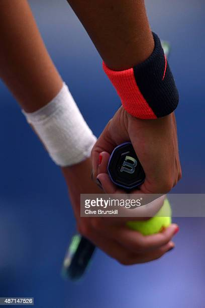 Madison Keys of the United States serves to Serena Williams of the United States during their Women's Singles Fourth Round match on Day Seven of the...