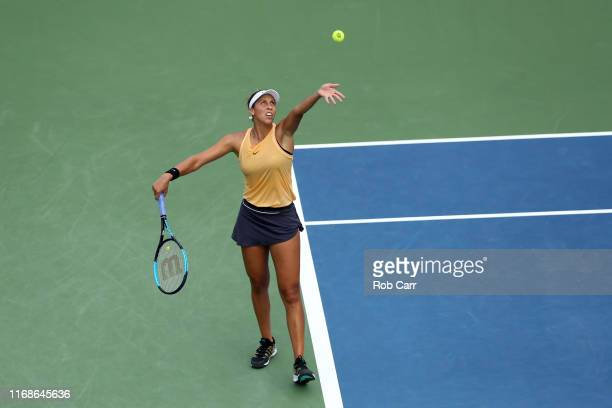 Madison Keys of the United States serves to Sofia Kenin of the United States during Day 8 of the Western and Southern Open at Lindner Family Tennis...