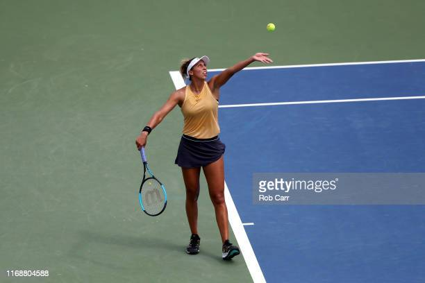 Madison Keys of the United States serves to Svetlana Kuznetsova of Russia during the Women's Final of the Western and Southern Open at Lindner Family...
