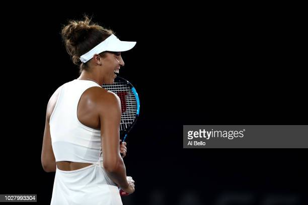 Madison Keys of the United States warmsup prior to her women's singles semifinal match against Naomi Osaka of Japan on Day Eleven of the 2018 US Open...