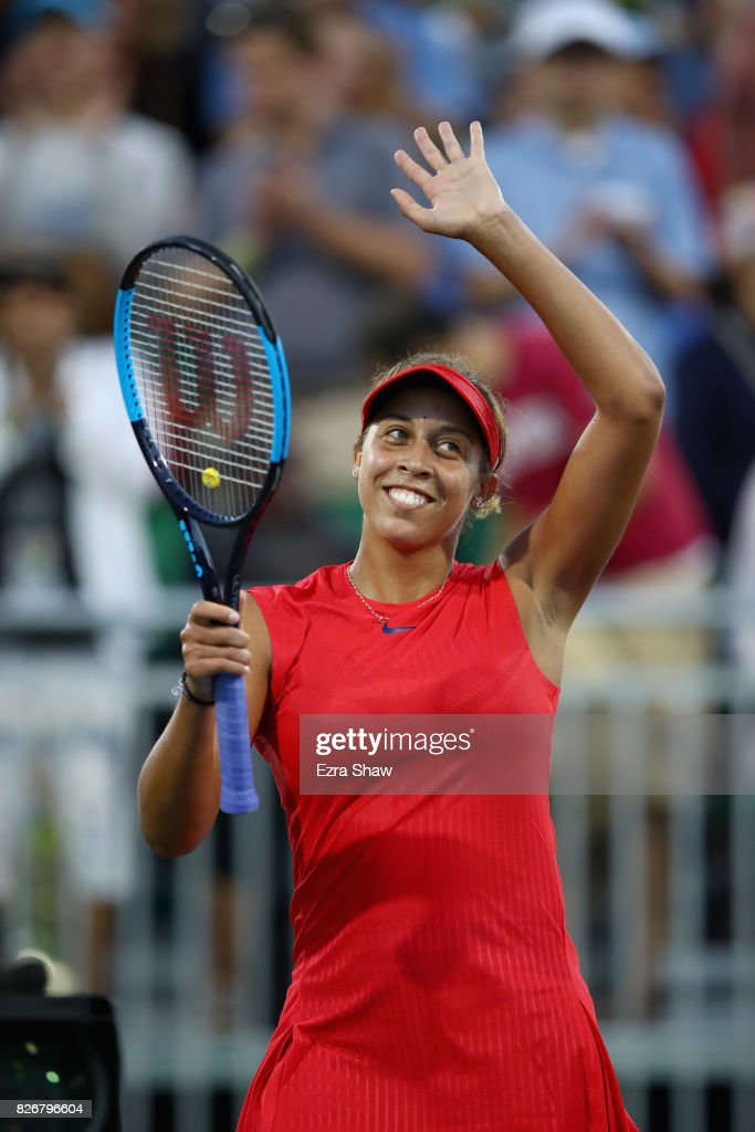 Madison Keys of the United States waves to the crowd after beating Garbine Muguruza of Spain in their semifinal match on Day 6 of the Bank of the West Classic at Stanford University Taube Family Tennis Stadium on August 5, 2017 in Stanford, California.