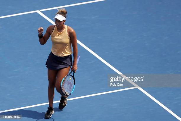 Madison Keys of the United States winning the first set against Svetlana Kuznetsova of Russia during the Women's Final of the Western and Southern...