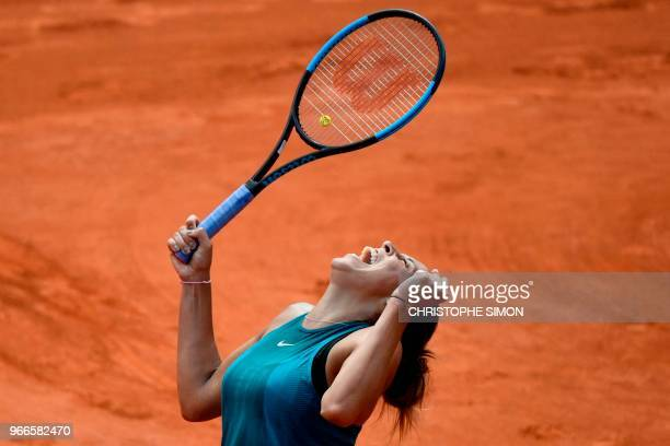 TOPSHOT Madison Keys of the US celebrates after victory over Romania's Mihaela Buzarnescu during their women's singles fourth round match on day...