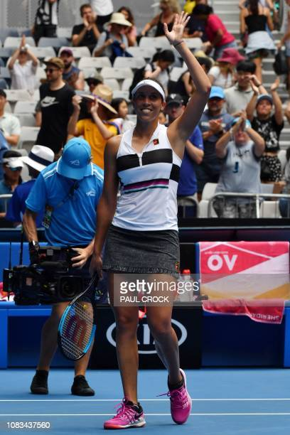 Madison Keys of the US celebrates her victory against Russia's Anastasia Potapova in their women's singles match on day four of the Australian Open...