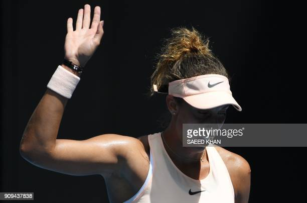 Madison Keys of the US gestures against Germany's Angelique Kerber during their women's singles quarterfinals match on day 10 of the Australian Open...
