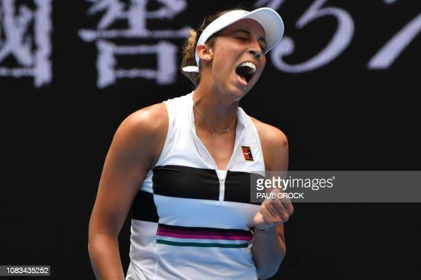 Madison Keys of the US reacts after a point against Russia's Anastasia Potapova during their women's singles match on day four of the Australian Open...