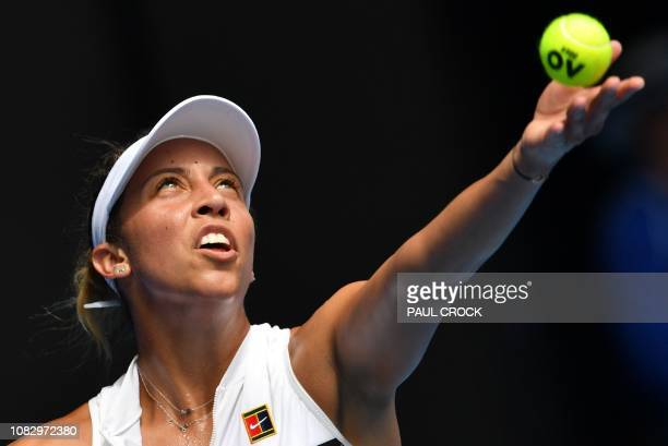 TOPSHOT Madison Keys of the US serves to Australia's Destanee Aiava during their women's singles match day two of the Australian Open tennis...