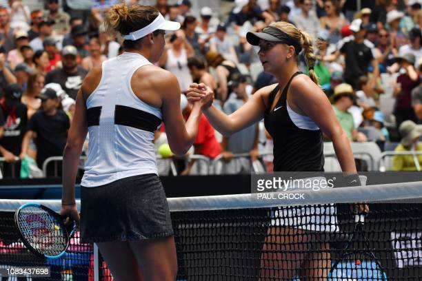 Madison Keys of the US shakes hands with Russia's Anastasia Potapova after beating her in their women's singles match on day four of the Australian...