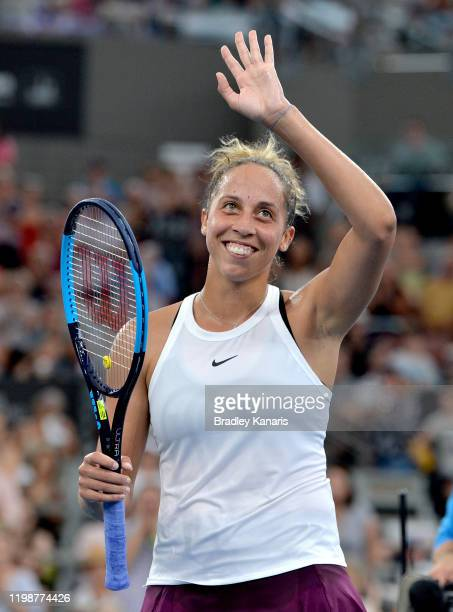 Madison Keys of the USA celebrates victory after her semi final match against Petra Kvitova of The Czech Republic during day six of the 2020 Brisbane...