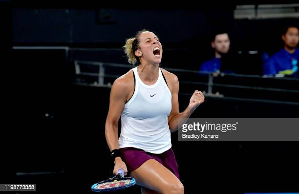 Madison Keys of the USA celebrates victory in her semi final match against Petra Kvitova of The Czech Republic during day six of the 2020 Brisbane...