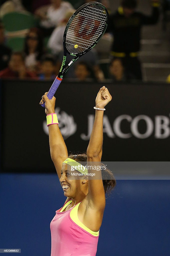 Madison Keys of the USA celebrates wiining in her third round match against Petra Kvitova of the Czech Republic during day six of the 2015 Australian Open at Melbourne Park on January 24, 2015 in Melbourne, Australia.