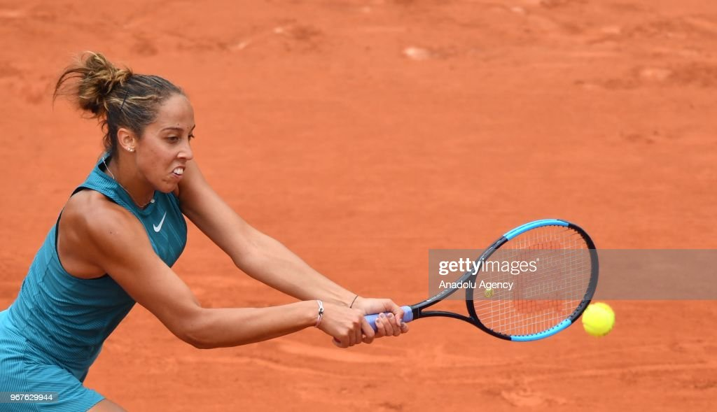 Madison Keys of the USA in action against Yulia Putintseva (not seen) of Kazakhstan during their quarter final match at the French Open tennis tournament at Roland Garros Stadium in Paris, France on June 05, 2018.