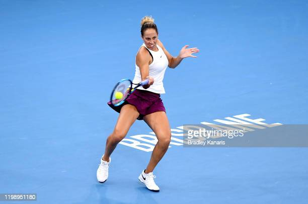 Madison Keys of the USA plays a forehand in the finals match against Karolina Pliskova of The Czech Republic during day seven of the 2020 Brisbane...