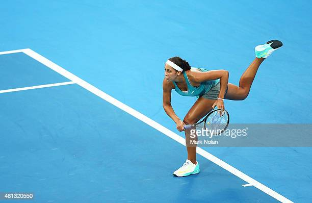 Madison Keys of the USA serves in her match against Svetlana Kuznetsova of Russia during the day one of the 2015 Sydney International at Sydney...