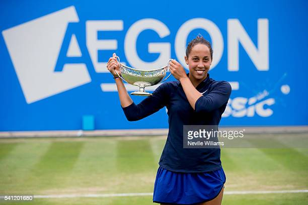 Madison Keys of United States celebrates with the Maud Watson trophy after her victory in the Women's Singles Final against Barbara Strycova of Czech...