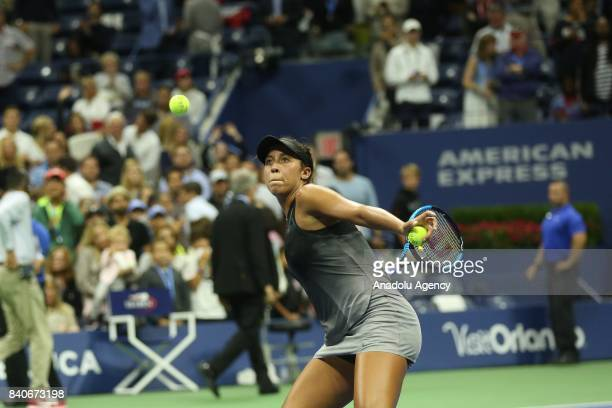 Madison Keys of United States competes against Elise Mertens of Belgium in Women's Singles within 2017 US Open Tennis Championships at Arthur Ashe...