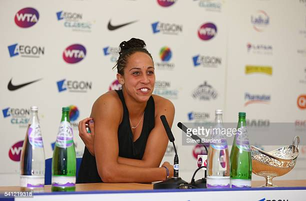 Madison Keys of United States talks to the media with the Maud Watson trophy after her victory in the Women's Singles Final on day seven of the WTA...