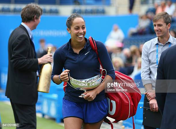Madison Keys of United States with the Maud Watson trophy after her victory in the Women's Singles Final against Barbara Strycova of Czech Republic...