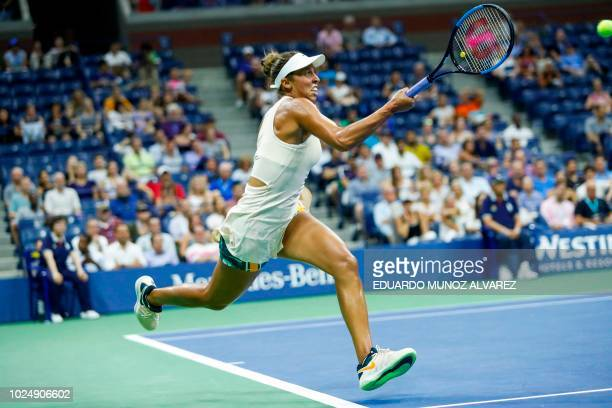 Madison Keys of US hits a return to Pauline Parmentier of France during their 2018 US Open women's match in New York on August 28 2018
