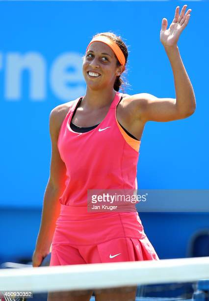 Madison Keys of USA celebrates the win over Heather Watson of Great Britain during their singles match on day seven of the Aegon International at...