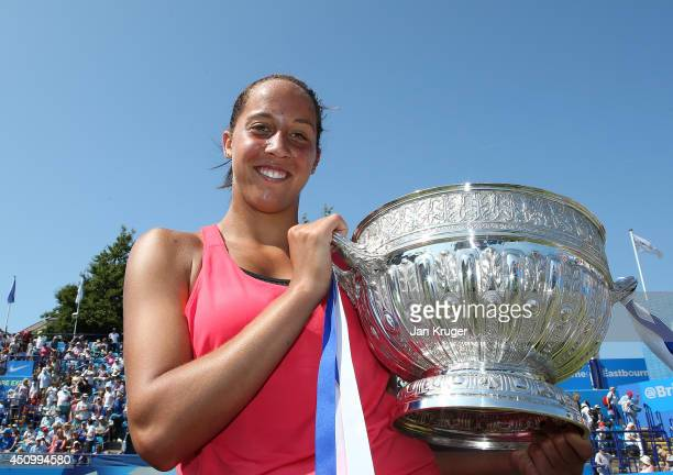 Madison Keys of USA celebrates with the trophy after beating Angelique Kerber of Germany during their Women's Finals match on day eight of the Aegon...