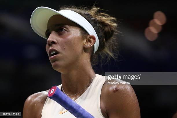 Madison Keys of USA competes against Naomi Osaka of Japan during US Open 2018 women's singles semifinal match on September 6 2018 in New York United...