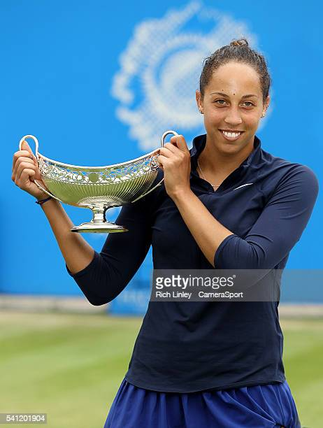 Madison Keys of USA holds the Maud Watson Trophy as she celebrates her victory over Barbora Strycova of Czech Republic in their Women's Singles Final...