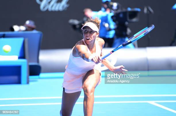 Madison Keys of USA in action against Angelique Kerber of Germany on day ten of the 2018 Australian Open at the Melbourne Park in Melbourne Australia...