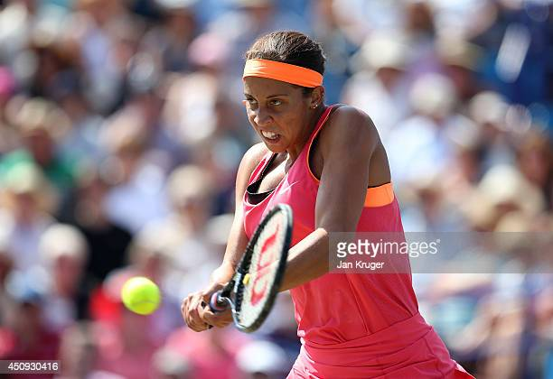 Madison Keys of USA returns against Heather Watson of Great Britain during their singles match on day seven of the Aegon International at Devonshire...