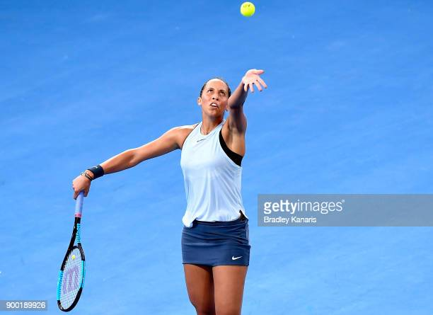 Madison Keys of USA serves in her match against Johanna Konta of Great Britain during day two of the 2018 Brisbane International at Pat Rafter Arena...