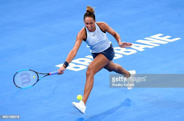 Madison Keys of USA stretches out to play a forehand in her match against Johanna Konta of Great Britain during day two of the 2018 Brisbane...