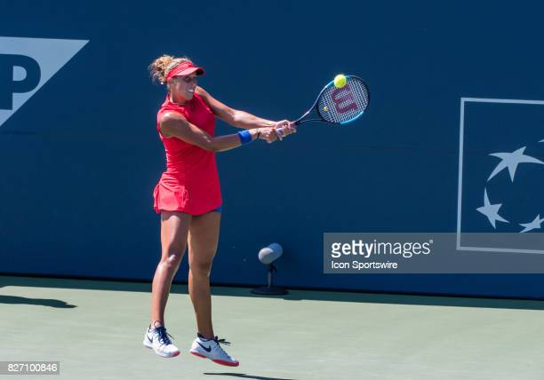 Madison Keys places a backhand return during a WTA singles championship round at the Bank of the West Classic between at the Taube Family Tennis...