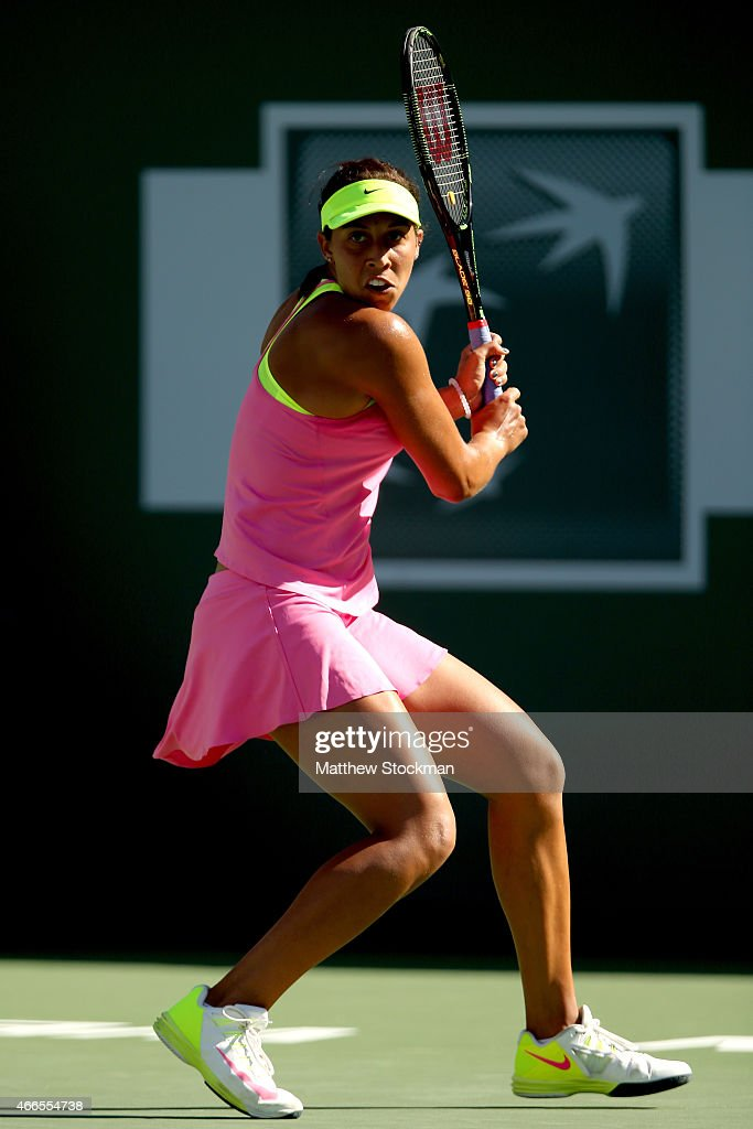 Madison Keys plays Jelena Jankovic of Serbia during day eight of the BNP Paribas Open at the Indian Wells Tennis Garden on March 16, 2015 in Indian Wells, California.