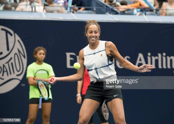 Madison Keys plays tennis during the 2018 Arthur Ashe Kids' Day at USTA Billie Jean King National Tennis Center on August 25 2018 in New York City
