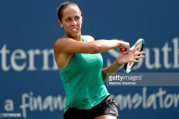 Madison Keys returns a shot to Angelique Kerber of Germany during the Western Southern Open at Lindner Family Tennis Center on August 16 2018 in...