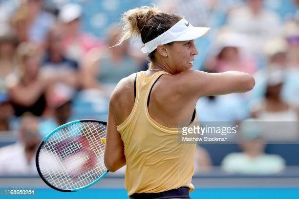 Madison Keys returns a shot to Sofia Kenin during the Western Southern Open at Lindner Family Tennis Center on August 17 2019 in Mason Ohio