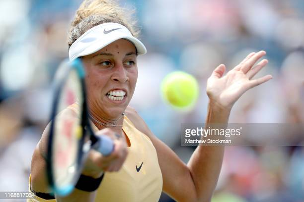Madison Keys returns a shot to Svetlana Kuznetsova of Russia during the women's final of the Western Southern Open at Lindner Family Tennis Center on...