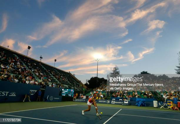 Madison Keys returns the ball during her match against Ajla Tomljanovic in the third set during the Bank of the West Classic tennis tournament at...