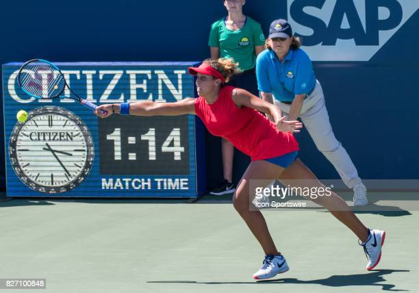 Madison Keys stretches for a serve during a WTA singles championship round at the Bank of the West Classic between at the Taube Family Tennis Stadium...