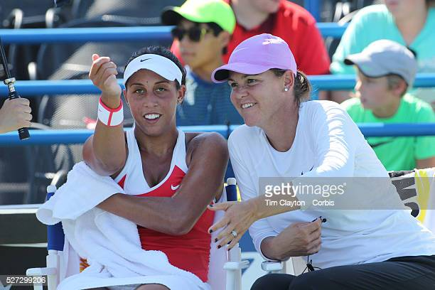 Madison Keys USA with coach Lindsay Davenport during her victory over Elina Svitolina Ukraine in the first round of the Connecticut Open at the...