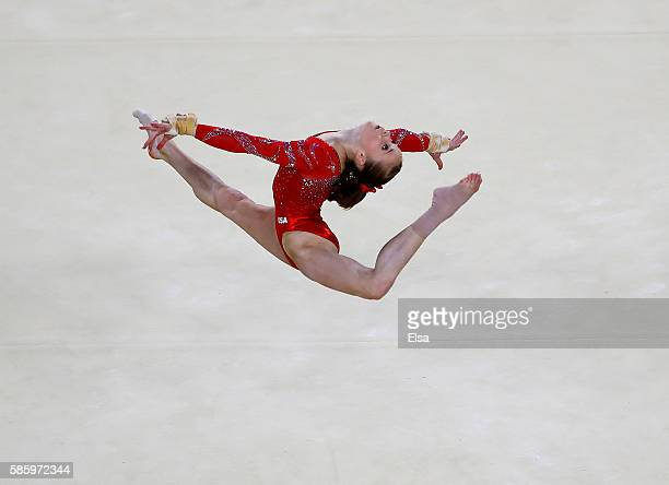 Madison Kocian of the United States performs her floor excercise routine during a training session before the start of the Summer Olympic Games on...